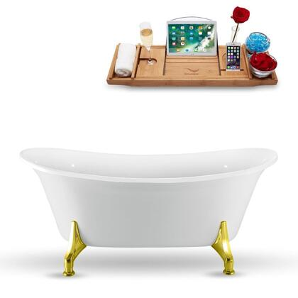N1081GLD 67″ Clawfoot Tub and Tray With External Drain in