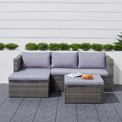 V1912 Daytona 3-Piece Vintage Outdoor Cushioned Wicker Corner Sofa in Light Grey with Footstool in Light