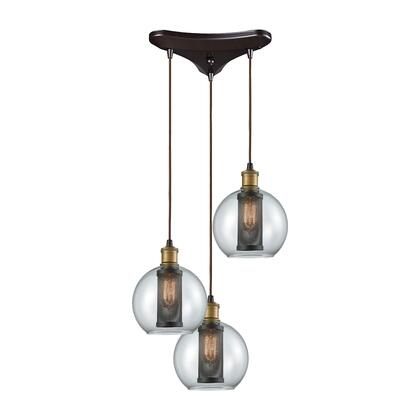 14530/3 Bremington 3 Light Triangle Pan Pendant in Tarnished Brass/Oil Rubbed Bronze with Clear Glass and