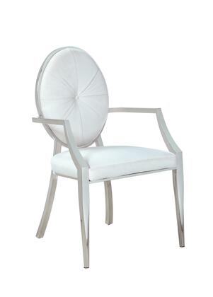 VICTORIA-AC-WHT Modern Round Button Tufted Back Arm Chair in Polished Stainless