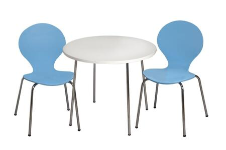3012B Modern Children's Table and 2 Chair Set with Chrome Legs (Blue Color