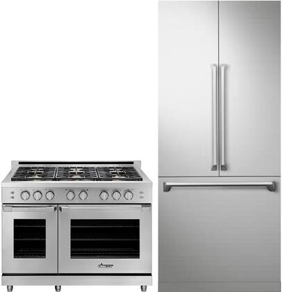 2 Piece Kitchen Appliances Package with DRF367500AP 36″ French Door Refrigerator and HGPR48SNG 48″ Gas Range in Stainless