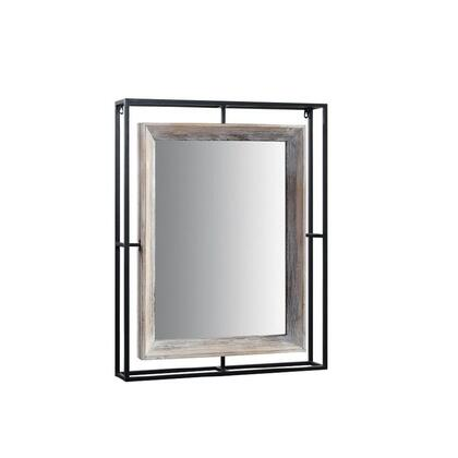 191026 Alta Collection Mirror  in Washed Fir Wood and Gray Wash and Black and Gray