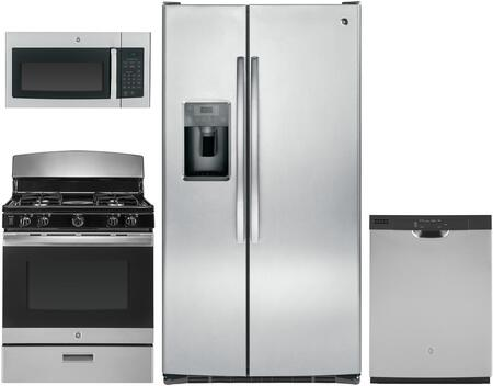 Ge 4 Piece Kitchen Appliances Package With Gss25gshss 36 Inch Side By Side Refrigerator Jgbs30rekss 30 Inch Gas Range Jvm3160rfss 30 Inch Over The Range Microwave And Gdf510psmss 24 Inch Built In