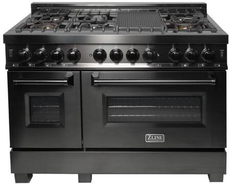 "ZLINE  RAB48 Freestanding Dual Fuel Range Black Stainless Steel, RAB48 48"" Professional Range"