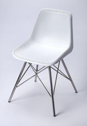 Inland Collection 3673411 Side Chair with Modern Style  Rectangular Shape  Iron Metal Material and Leather Uphlostery in White Leather