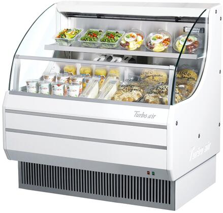 Turbo Air TOM40LWN Display and Merchandising Refrigerator White, TOM40LWN Angled View