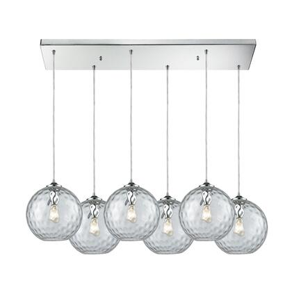 31380/6RC-CLR Watersphere 6 Light Rectangle Fixture in Polished Chrome with Clear Hammered