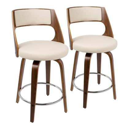 Cecina Collection B24-CECINARWLCR2 Set of 2 Counter Height Stools with 360-Degree Swivel Seat  Mid-Century Modern Style  Curved Wood Frame  PU