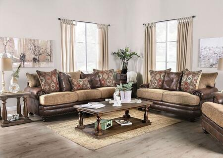 Furniture of America Fletcher SM5148SFSET Living Room Set Brown, Living Room Set