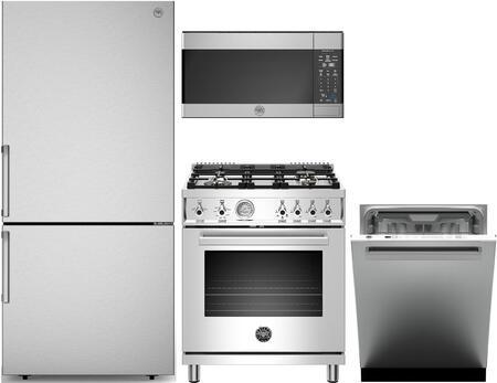 4 Piece Kitchen Appliances Package with REF31BMFIX 31″ Bottom Freezer Refrigerator  PROF304GASXT 30″ Gas Range  KOTR30X 30″ Over the Range Microwave