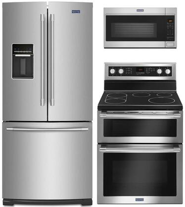 """3 Piece Kitchen Appliances Package with MFW2055FRZ 30"""" French Door Refrigerator MET8800FZ 30"""" Electric Range and MMV4207JZ 30"""" Over the Range"""