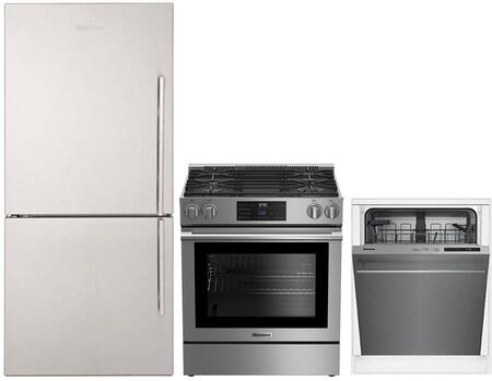 """3-Piece Kitchen Appliances Package with BRFB1812SSLN 30"""" Bottom Freezer Refrigerator BGR30420SS 30"""" Slide-in Gas Range and DWT51600SS 24"""" Built In"""