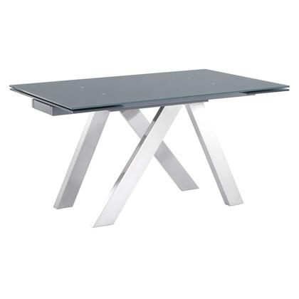 LCACDIGR Ace Contemporary Extension Dining Table in Grey Powder Coated Finish with Brushed Stainless Steel and Grey Tempered Glass