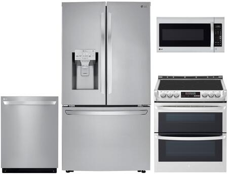 4 Piece Kitchen Appliances Package with LRFXC2406S 36″ French Door Refrigerator  LTE4815ST 30″  Slide-in Electric Range  LMV2031ST 30″ Over the Range