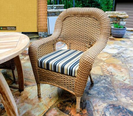 Sea Pines Collection LEX-DC-M-RAVEL Dining Chair in Mojave Wicker and Rave Lemon Fabric