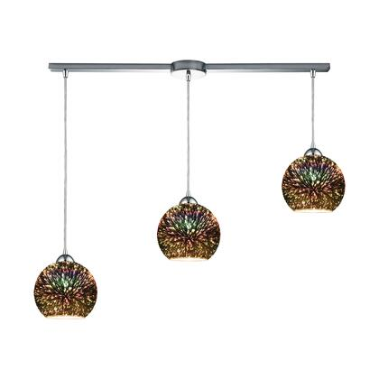 10517/3L Illusions 3-Light Linear Bar in Polished Chrome with 3-D Starburst Glass