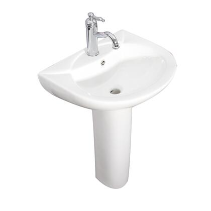 3-9151WH Banks Pedestal with 1 Faucet Hole  Overflow