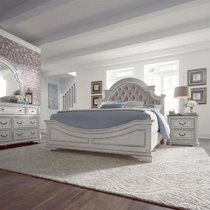Liberty Furniture Magnolia Manor 244BRKUBDMN Bedroom Set White, 244 br qubdmn