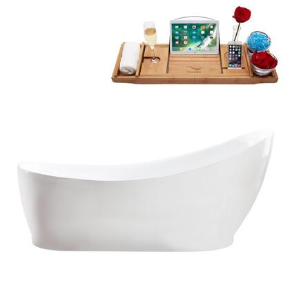 M-2140-68FSWH-FM 68″ Soaking Freestanding Tub and tray With Internal Drain in