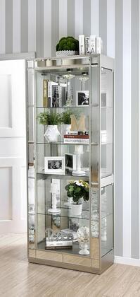 Furniture of America Carrollton CMCR150PK Curio Cabinet Silver, CMCR150PK Main Image