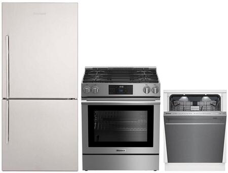 """3-Piece Kitchen Appliances Package with BRFB1812SSN 30"""" Bottom Freezer Refrigerator BGR30420SS 30"""" Slide-in Gas Range and DWT81900SS 24"""" Smart Built"""