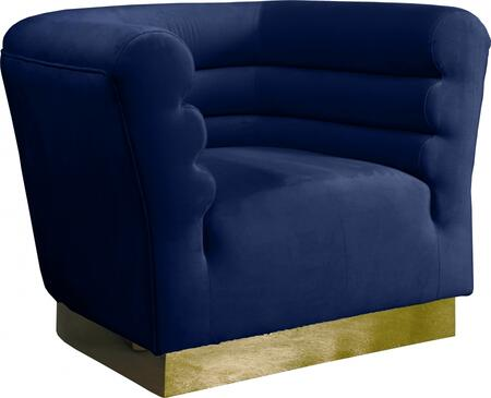 Bellini 669NAVY-C 44″ Chair with Piped Stitching  Gold Stainless Steel Base and Velvet Upholstery in
