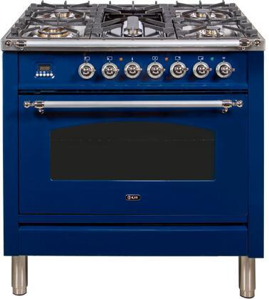 Ilve Nostalgie UPN90FDMPBLXLP Freestanding Dual Fuel Range Blue, ILVE UPN90FDMPBLXLP Liquid Propane Range