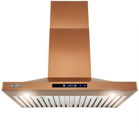 RH0406 30″ Convertible Island Mount Range Hood with 343 CFM  LED Lights  Baffle Filters  Touch Controls  in Black Stainless