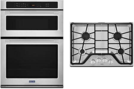 2 Piece Kitchen Appliances Package with MMW9730FZ 30″ Electric Double Wall Oven/Microwave Combo and MGC7430DS 30″ Natural Gas Cooktop in Stainless