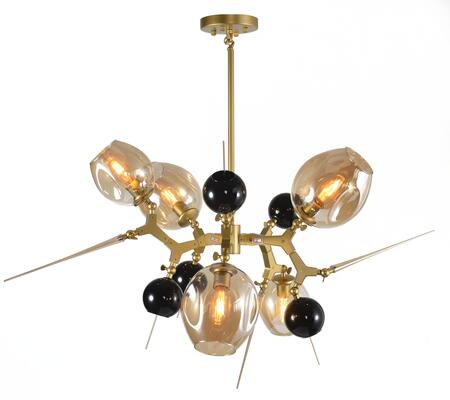 BE03 5-Light Ceiling Fixture with Aluminum and glass Materials and 60 Watts in Shiny Nickel