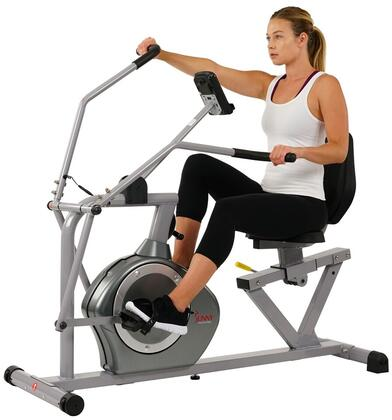 Sunny Health and Fitness SFRB4708 Exercise Bike Silver, With Model