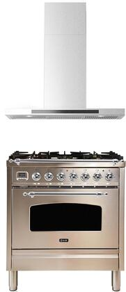 2 Piece Kitchen Appliances Package with UPN76DMPIX 30″ Dual Fuel Gas Range and ALBERTO30 30″ Wall Mount Convertible Hood in Stainless