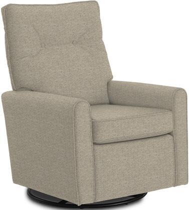 Phylicia Collection 4007-19179 Recliner with 360-Degrees Swivel Glider Metal Base  Removable Back  High Backrest  Zipper Access and Fabric Upholstery