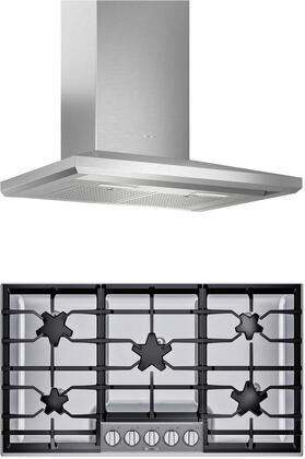 2 Piece Kitchen Appliances Package with SGSP365TS 36″ Gas Cooktop and HMCB36WS 36″ Wall Mount Convertible Hood in Stainless