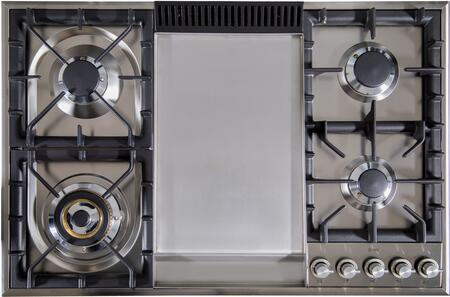 Ilve  UXLP90FI Gas Cooktop Stainless Steel, UXLP90FI Cooktop with Griddle