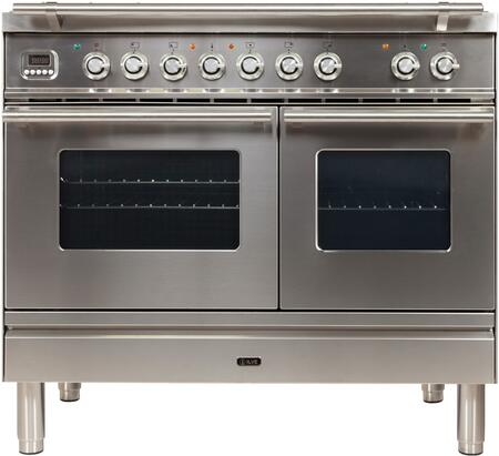 UPDW100FDMPILP 40″ Professional Plus Series Freestanding Dual Fuel Liquid Propane Range with Griddle  2 Ovens  4 Sealed Burners  Warming Drawer  and