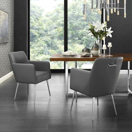 Perogo Collection DC91-01GR2-AC Set of 2 Dining Chairs with High Density Foam  Scooped Backrest and PU Leather Upholstery in Grey