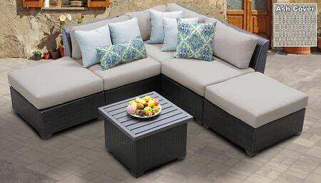 Barbados BARBADOS-06f-ASH 6-Piece Wicker Patio Set 06f with 1 Corner Chair  2 Armless Chairs  2 Ottomans and 1 End Table – Wheat and Ash