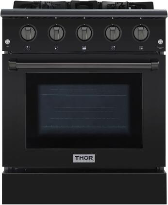 Thor Kitchen HRG3080BS Freestanding Gas Range Black Stainless Steel, 1