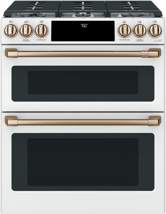"""CGS750P4MW2 Cafe 30"""" Matte White Slide-In Double Oven Gas Range with Convection"""