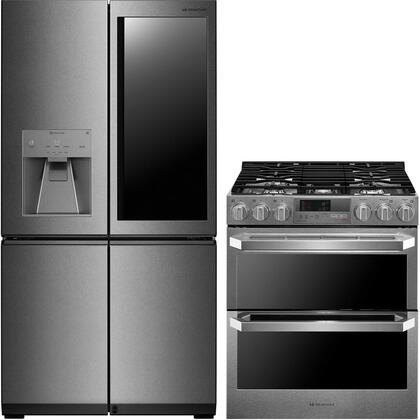 2 Piece Kitchen Appliances Package with LUPXC2386N 36″ French Door Refrigerator and LUTD4919SN 30″ Slide-in Dual Fuel Range in Stainless