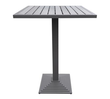 LCMABTGR Armen Living Marina Outdoor Grey Patio Bar Table in Grey Powder Coated Finish and Grey Wood