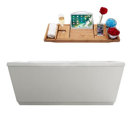 M-2020-67FSWH-DM 66″ Soaking Freestanding Tub and Tray With Internal Drain in White