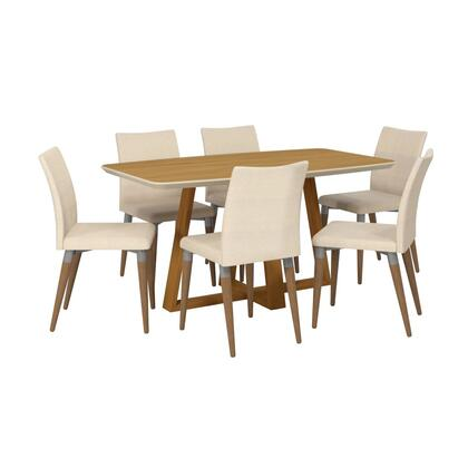 Duffy and Charles Collection 2-10184511011452 7-Piece Dining Set with Table and 6x Side Chairs in Matte Cinnamon Off White and Dark Beige