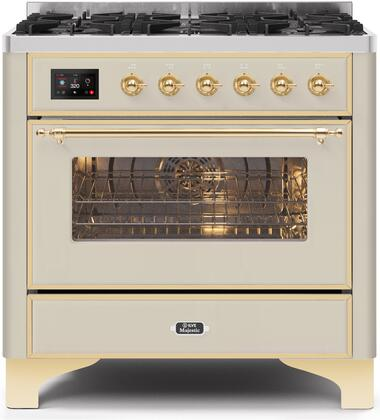 UM096DNS3AWG 36″ Majestic II Series Dual Fuel Natural Gas Range with 6 Burners  3.5 cu. ft. Oven Capacity  TFT Oven Control Display  Gold Trim  in