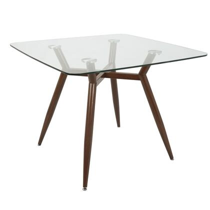 Clara Collection DT-CLR3838WLGL Dining Table with Geometric Metal Legs  Mid-Century Modern Style and Tempered Glass Top in Clear and Walnut