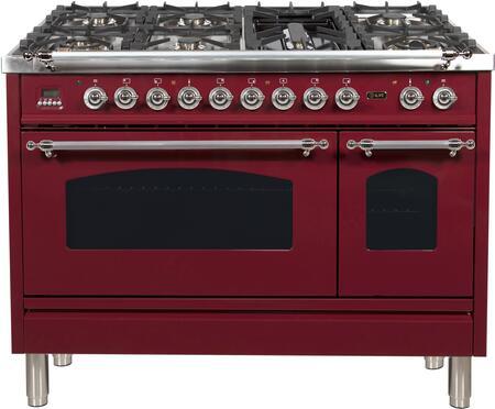 Ilve Nostalgie UPN120FDMPRBX Freestanding Dual Fuel Range Red, 1