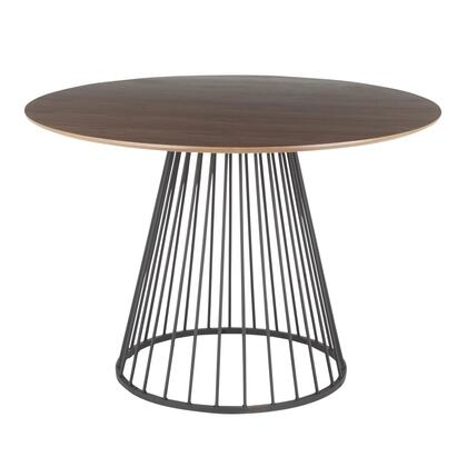 Canary Collection DT-CANARY2BKWL Dining Table with Round Wood Top  Contemporary Modern Style  Cage-Like Gold Tone Metal Base and Mirrored Top in