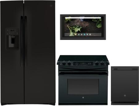 4 Piece Kitchen Appliances Package with GSS25IGNBB 36″ Side by Side Refrigerator  JD630DFBB 30″ Electric Range  UVH13013MDS 30″ Under Cabinet Ducted